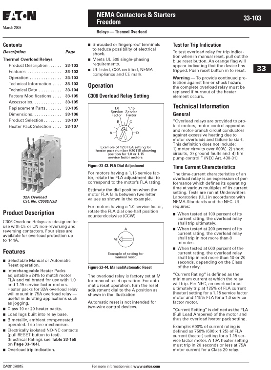 Image of an Eaton H2014B-3 data sheet page 1