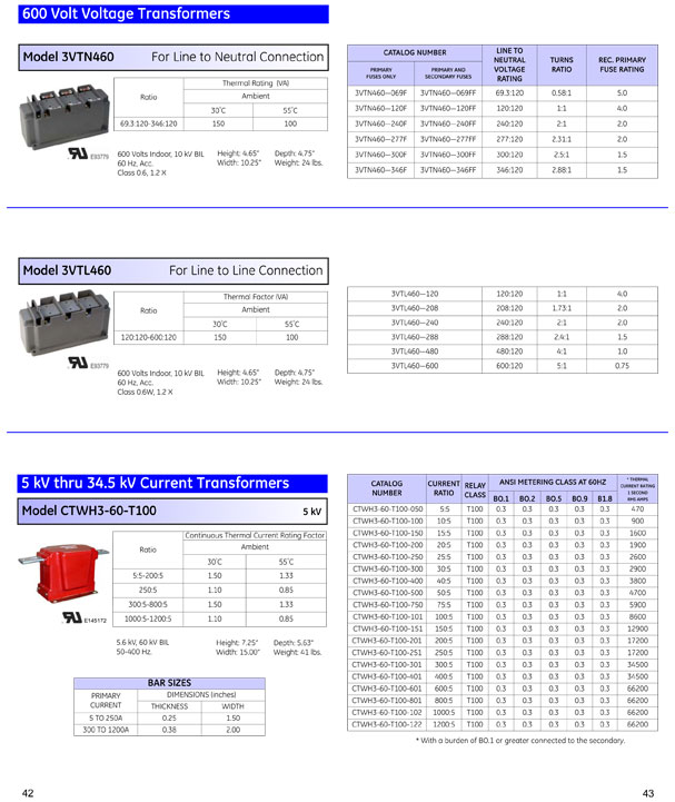 GE Instrument Transformers OEM Guide Pages 42 & 43