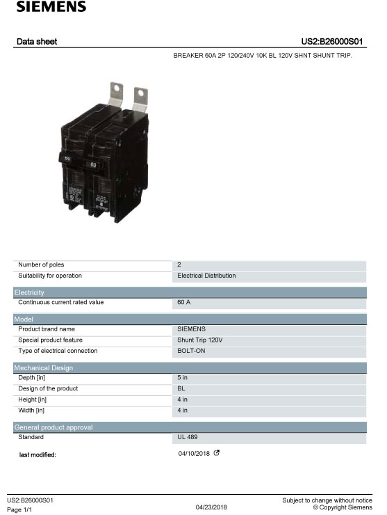SIEMENS B26000S01 Data Sheet