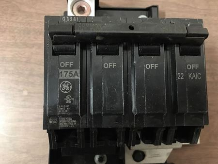 Full size image of the front of a GE THQMV175D circuit breaker