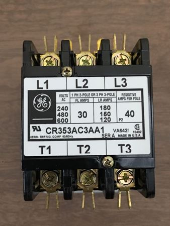 Image of the front of a GE CR353AC3AA1 definate purpose contactor