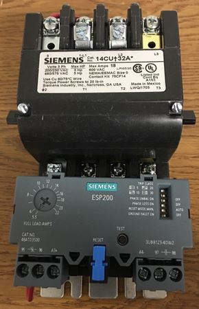 the front of a SIEMENS 14CUD32AJ motor starter