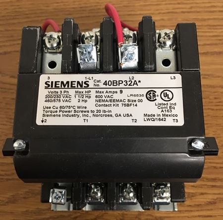 the front of a SIEMENS-FURNAS 40BP32AC contactor