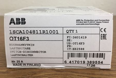 the box of an ABB OT16F3 General Purpose Switch