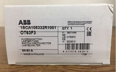 Image of the box of an ABB OT63F3 General Purpose Switch