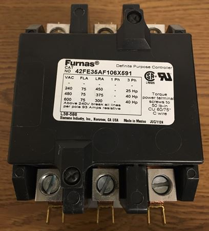 Image of the front of a Furnas 42FE35AF106 X591 contactor