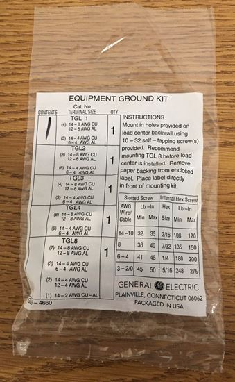 Image of the front of a GE TGL1 Equipment Grounding Kit