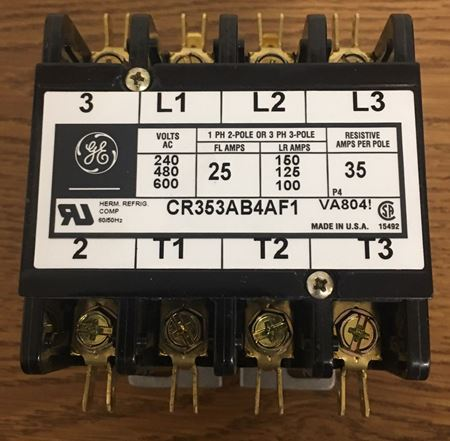 Image of the front of a GE CR353AB4AF1 contactor